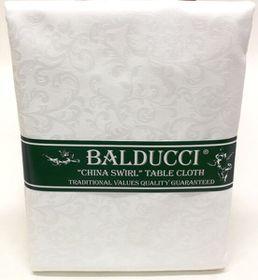 Balducci China Swirl White Tablecloth - 10 Seater