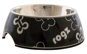 Rogz Lapz 2-in-1 Black Bones Bubble Bowl - Medium