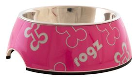 Rogz Lapz 2-in-1 Pink Bones Bubble Bowl - Medium