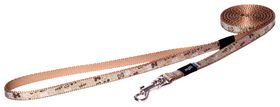 Rogz Lapz Trendy Brown Bones Fixed Long Dog Lead - Extra Small