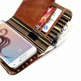 Tuff-Luv Alston Craig Vintage Leather E-Scape Wallet Case for the Samsung Galaxy S6 Edge Plus (Includes Screen Protector) - Brown