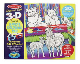 Melissa & Doug Animals 3D Colouring In Book