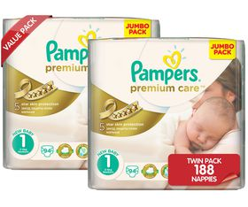 Pampers - Premium Care Nappies - Size 1 - Jumbo Twin Pack (2 x 94 count)