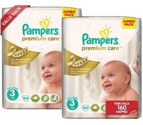 Pampers - Premium Care Nappies - Size 3 - (2 x 80 Count)