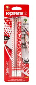 Kores Grafitos Red & White HB Pencils - Blister of 4