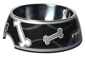 Rogz - 2-in-1 Bubble Dog Bowl - Small - Black Paw Design - 160ml
