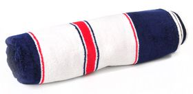 Terry Lustre Beach Towel Velour 450gsm - White Red & Blue Stripe