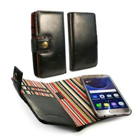 Tuff-Luv Alston Craig GenuineLeather Magnetic Wallet Case and Cover for the Samsung Galaxy S7 Edge - Black