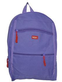 Lee Cooper Student Front Zip Compartments Backpack- Small - Purple