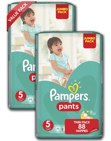 Pampers - Active Baby Nappy Pants - Size 5 - Twin Jumbo Pack (2 x 52 count)