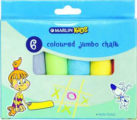 Marlin Kids Colour Jumbo Chalk - 6 Pieces