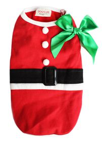 Dog's Life - Christmas Range Santa Tee with Bow in Red Large