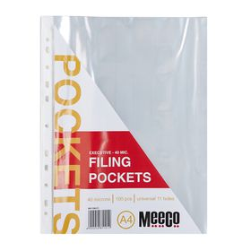 Meeco A4 40micron Filing Pockets - 100 Pack