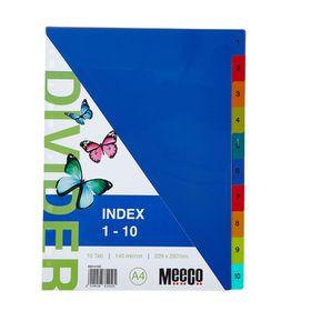 Meeco A4 5 Tab (1-10) Bright Multi Colour Dividers