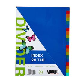 Meeco A4 20 Tab Bright Multi Colour Dividers
