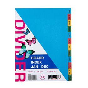 Meeco A4 12 Tab (Jan-Dec) Bright Multi Colour Board Dividers