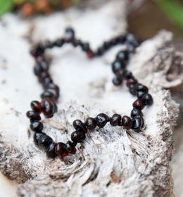 Baltic Amber - Teething Necklace - Dark Cherry