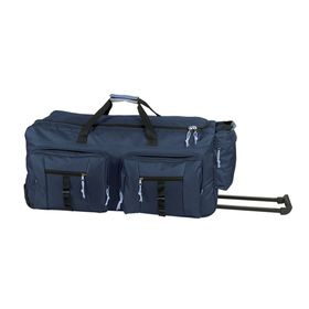 Eco Dual Front Pocket Rolling Travel Duffle - Navy