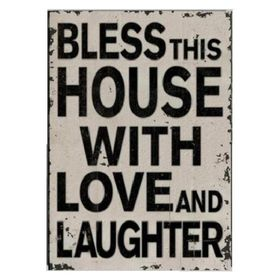 Pamper Hamper - Bless This House With Love and Laughter Metal Plaque