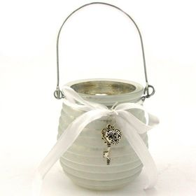 Pamper Hamper - Smokey Glass Jar With Key and Heart Decoration