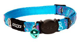 Rogz Neo Cat Safeloc Breakaway Collar - Turquoise Candy Stripes Design
