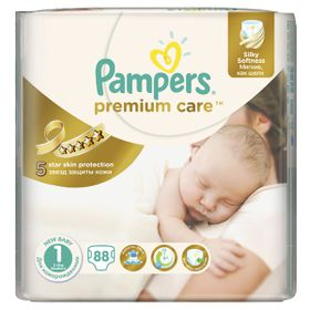 Pampers Premium Care Nappies - Size 1 - Value Pack (88 count)
