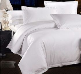 Chic Linen Luxurious Egyptian Cotton Plain White Duvet Cover Set