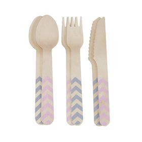 Ginger Ray - Chevron Divine Wooden Cutlery