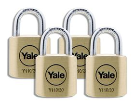 Yale - 20mm Brass Padlock - 4 Pack Keyed Alike