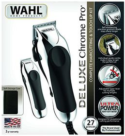 Wahl Deluxe Chrome Pro Corded 27 Piece Complete Haircutting And Touch-Up Kit