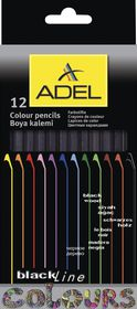 Adel 12 Blackline Colour Pencils