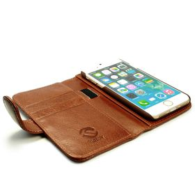 Tuff-Luv Vintage Leather Wallet and Screen Protector for iPhone 7 - Brown