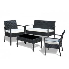 Fine Living - Rattan Miami 4 Piece - Black and Cream