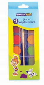 Marlin Kids Jumbo Watercolours - 12 Pats