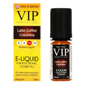 VIP E-Cigarettes 10ml Latte Coffee Columbia - 16mg