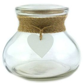 Pamper Hamper - Glass Jar With Rope and Heart Detail - White