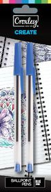 Croxley Create Capped Ballpoint Pens - Blue (Blister of 2)