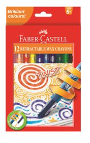 Faber-Castell 12 Retractable Twist Wax Crayons