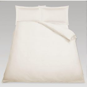 Simon Baker - T230 O xford Straight Stitched Cotton Percale 3 Piece Super King Duvet Set - Cream