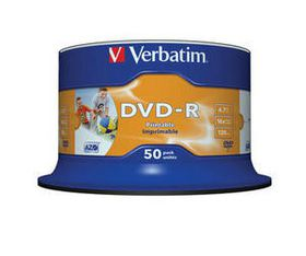Verbatim DVD-R Printable 16X 4.7GB - Spindle (50 Pack) (NO ID)