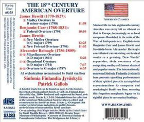 Reinagle / Hewitt / Sinfonia Finlandia / Gallois - The 18th Century American Overture (CD)