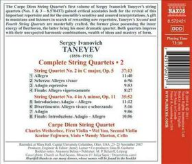 Taneyev / Carpe Diem String Quartet - String Quartets Nos.2 & 4 (CD)