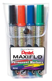 Pentel Maxiflo Chisel Tip Permanent Markers - Wallet of 4